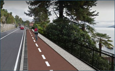 Pedestrian cycle track in Verbania, Italy