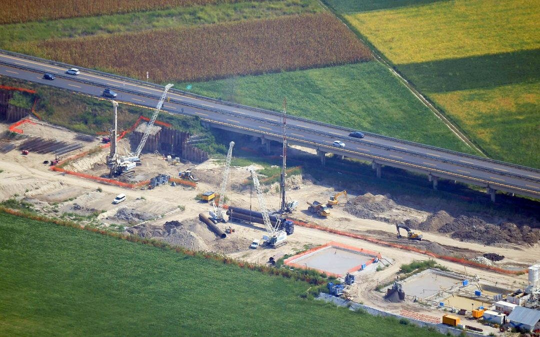 3rd lane of the motorway A4 between the new bridge over the Tagliamento river and Gonars